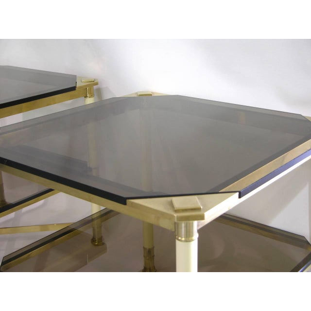 Metal Vivai Del Sud 1970s Smoked Glass and Ivory Brass Side Tables - a Pair For Sale - Image 7 of 11