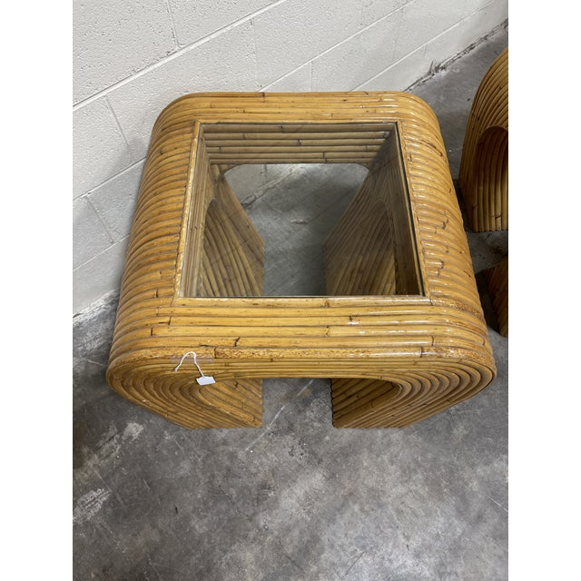 Gabriella Crespi Crespi-Style Pencil Reed Bamboo Waterfall End Tables - a Pair For Sale - Image 4 of 10