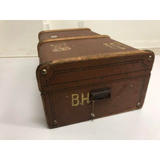 Vintage Brown Wood Steamer Trunk With Stickers Preview