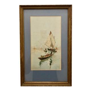 Vintage Venetian Scene in Gold Frame For Sale