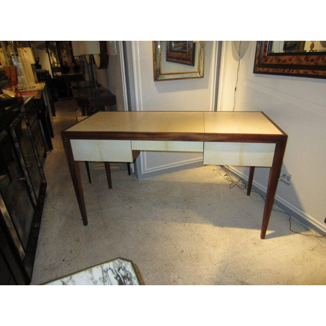 Modern Custom parchment and Mahogany Writing Desk For Sale - Image 3 of 7