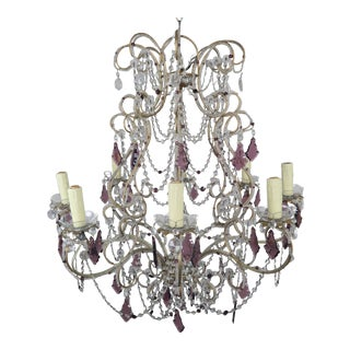 French Crystal Beaded Chandelier 1940's