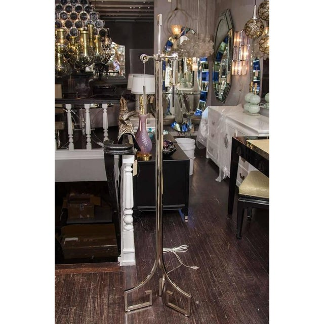 Chrome Greek Key Floor Lamp For Sale In New York - Image 6 of 6