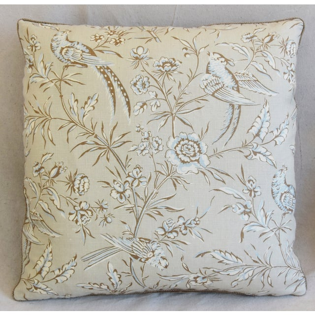 """Asian Scalamandre Aviary & Velvet Feather/Down Pillows 21"""" Square - Pair For Sale - Image 3 of 13"""