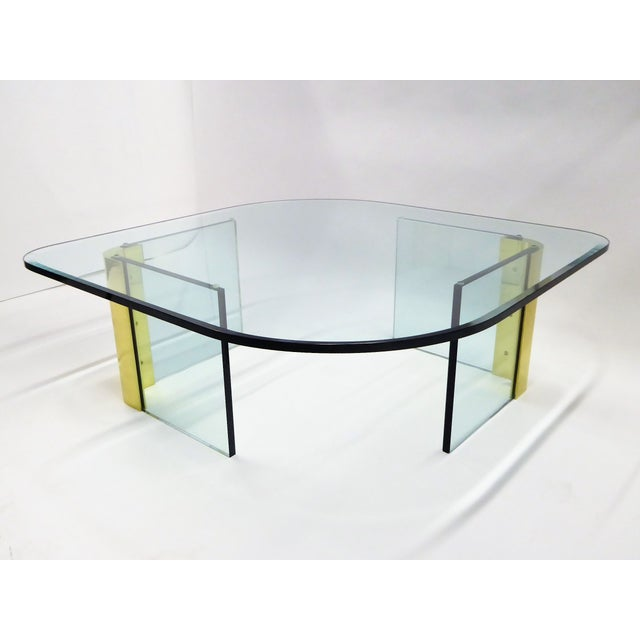 Modern Large 1970s Thick Glass & Brass Coffee Table For Sale - Image 13 of 13