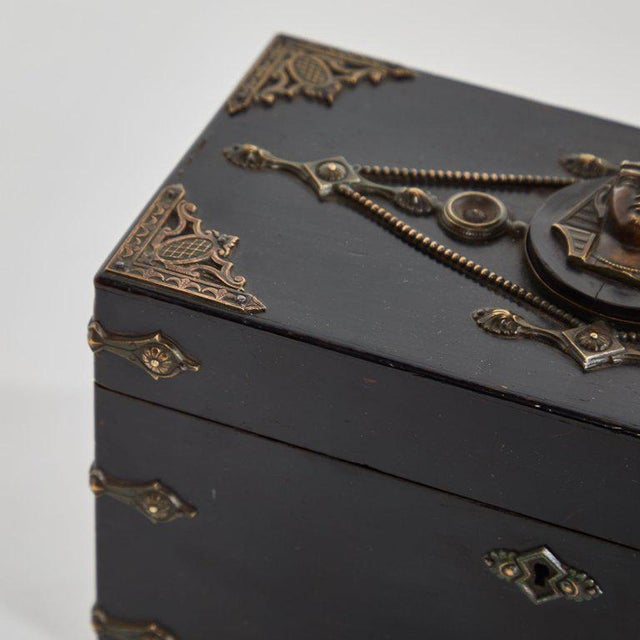 Black French Ebonzied and Decorated Box For Sale - Image 8 of 9