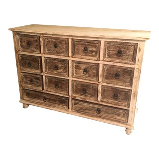 "Rustic Wide Multi Drawer Low Sideboard Cabinet - 45"" For Sale"