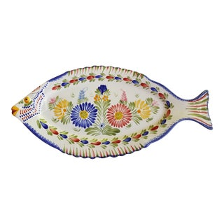 Large and Colorful Quimper Fish Platter For Sale