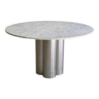 Vintage Mid-Century Modern Chrome and White Marble Pedestal Dining Table For Sale
