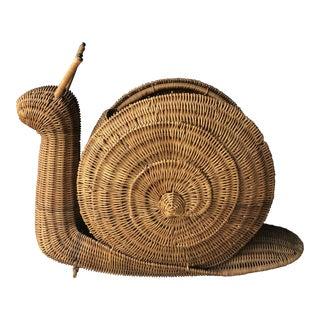 Vintage Wicker Snail Magazine Holder Basket