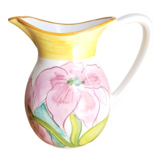 Hand Painted Floral Italian Ceramic Pitcher For Sale