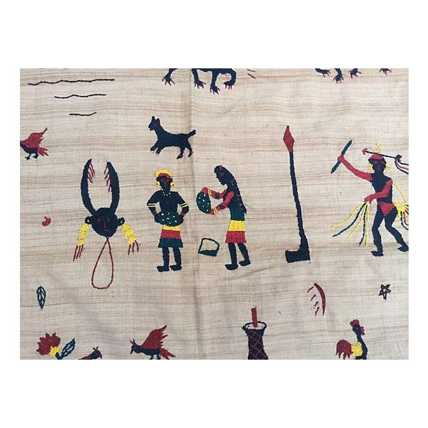 Primitive Naga Hill Tribe Primitive Embroidered Story Throw For Sale - Image 3 of 5