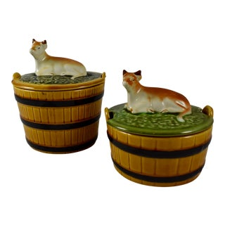 1930s Secla Portuguese Covered Cow Butter Tub Servers, S/2 For Sale