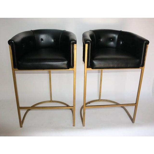 Bauhaus Modern Brass & Leather Stools - a Pair - Image 3 of 9