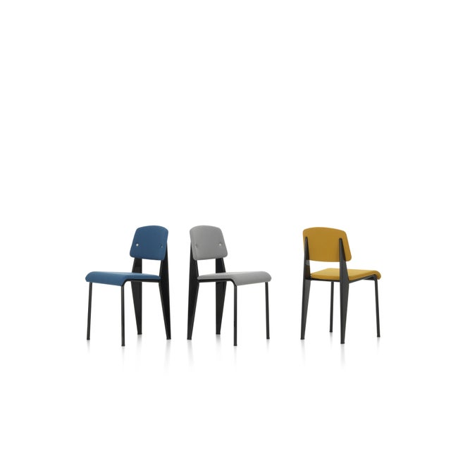 Metal Vitra Standard SR Chair in Canola and Deep Black by Jean Prouvé For Sale - Image 7 of 9