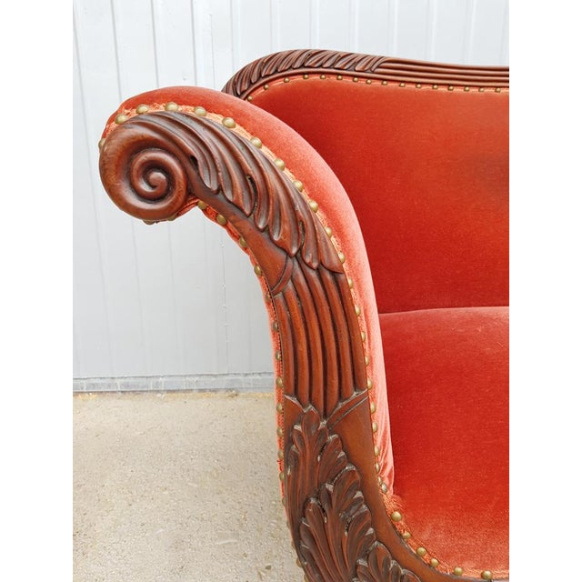 Red Antique French Cherry Massive Empire Red Velvet Upholstery Sofa Canape For Sale - Image 8 of 12