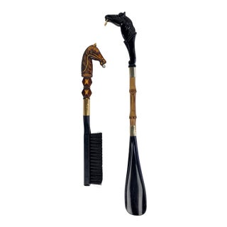 Mid Century Equestrian Shoehorn and Boot Brush Set - 2 Pc. Set For Sale