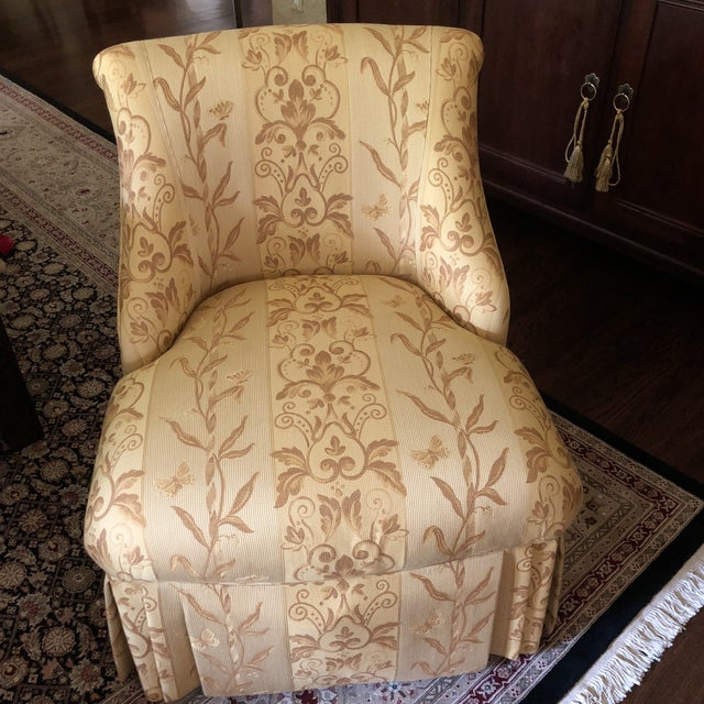 Wood Traditional Pearson Gold Slipper Chair For Sale - Image 7 of 10