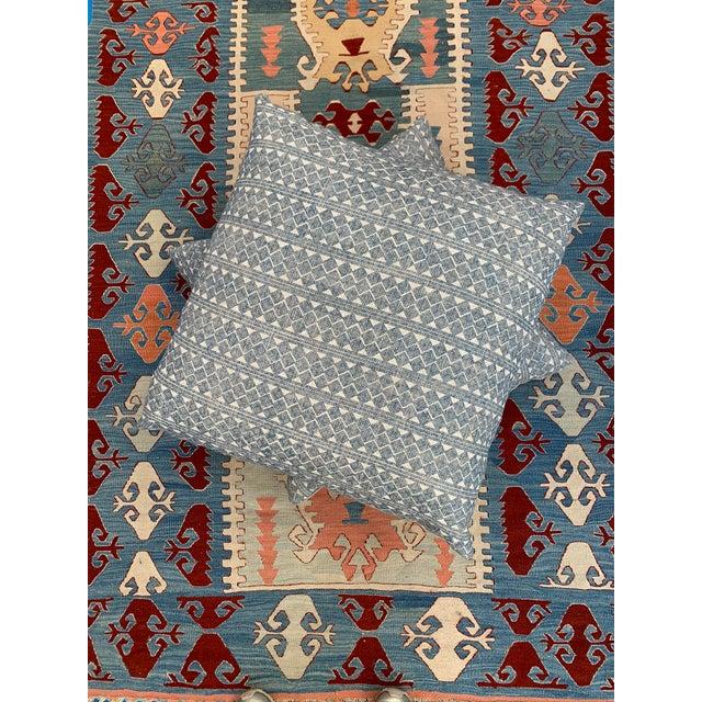 Textile Blue & Cream Diamond Pattern Linen Pillows- a Pair For Sale - Image 7 of 8