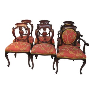 1920s Victorian Styled Mahogany Chairs - Set of 6 For Sale