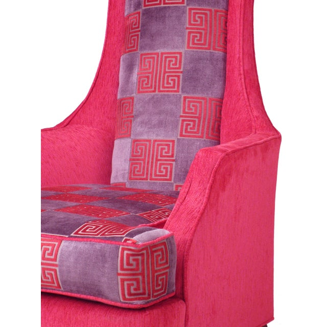 Hot Pink Greek Key Highback Wing Chairs - Pair - Image 6 of 7