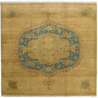 Hand Knotted Indian Medallion Rug - 5'x 5' For Sale