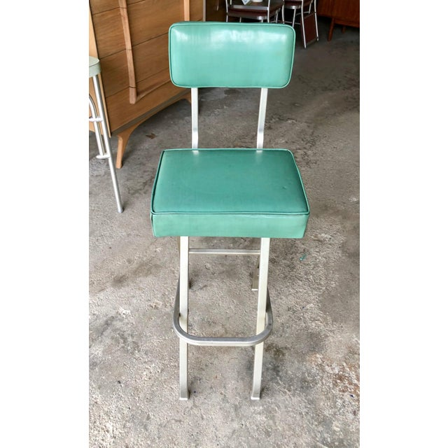 Extremely Rare Design by Warren McArthur , 1930's Vintage. Tag Present under seat. Original Turquoise Vinyl Upholstery and...