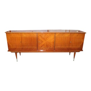Beautifu Long French Art Deco Light Exotic Mahogany Sideboard / Buffet / Bar, circa 1940s.
