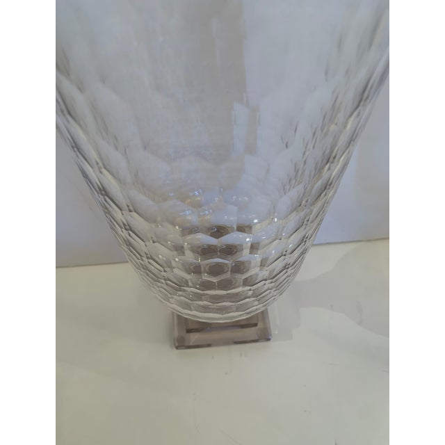 1970s Cylindrical Cut Glass Hurricanes Candle Holders -A Pair For Sale - Image 5 of 10