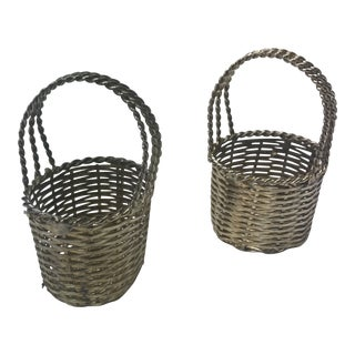 Pair of Silver Wire Miniature Decorative Baskets For Sale