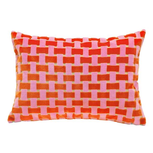 "Modern Modern Pink and Orange Velvet Basket Weave Pillow - 14"" X 20"" For Sale - Image 3 of 4"