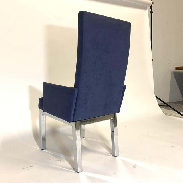 Set of 6 Milo Baughman for Design Institute of America Dia Chrome Parsons Chairs For Sale In New York - Image 6 of 13