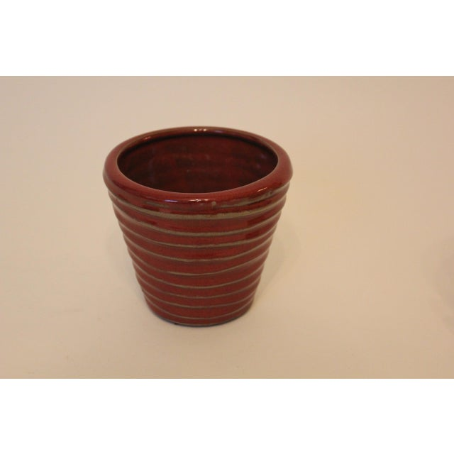 Early 21st Century Vintage Red Swirled Ceramic Planter For Sale - Image 5 of 5