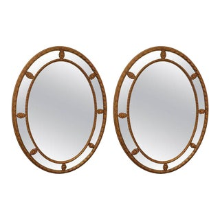 Oval Italian Giltwood Mirrors - A Pair For Sale