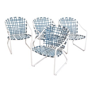 Mid Century Modern Brown Jordan Aluminum Patio Chairs - Set of 4 For Sale