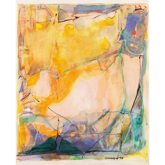 'Abstract in Rose and Saffron' by Donald Sanders, 1994; Texas Artist For Sale - Image 9 of 10