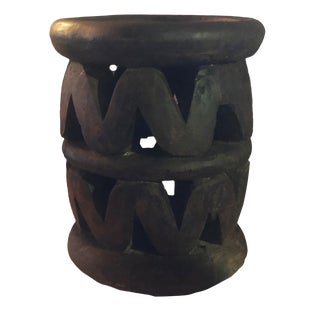"Superb Old African Bamileke Wood Low Stool 14.75"" H by 12.5 "" D Cameroon For Sale"