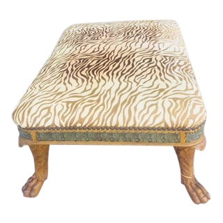 Late 19th Century Zebra Print Covered Bronze Mounted Ottoman For Sale