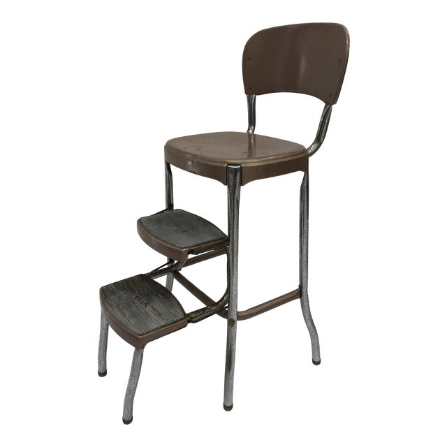 Sensational Vintage Mid Century Brown Metal Step Stool By Cosco Pabps2019 Chair Design Images Pabps2019Com