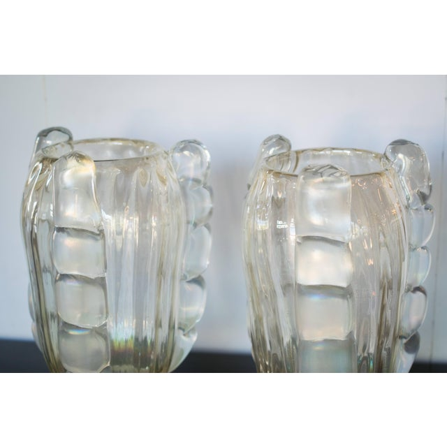 Ribbed Murano Vases by Sergio Costantini, Pair For Sale In Austin - Image 6 of 9