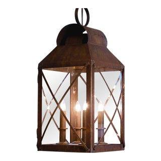 Large, Custom Hand-Crafted American Four-Light Brass and Glass Hanging Lantern For Sale