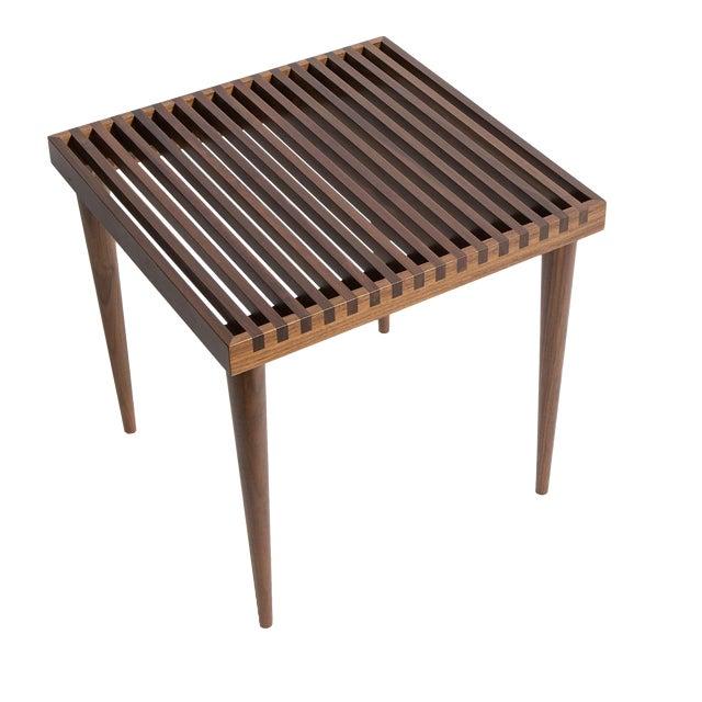 Smilow Furniture walnut slat wood side tables/stools.