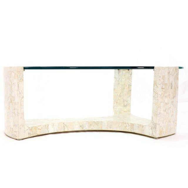 White Tessellated Stone Veneer Tile Organic Kidney Shape Coffee Center Table For Sale - Image 8 of 13