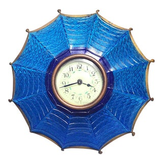 Antique German Blue Glass Umbrella Mantle Clock