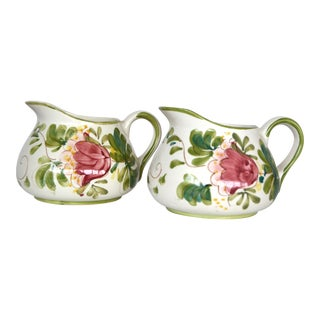 Vintage Portuguese Hand Painted Floral Pink Pitchers - a Pair For Sale