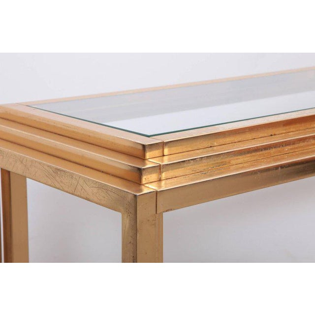 Hollywood Regency Brass Skyscraper Console or Side Table in the Manner of Willy Rizzo For Sale - Image 3 of 7