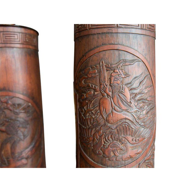 Early 20th Century Antique Chinese Carved Bamboo Table Lamps - a Pair For Sale - Image 5 of 8