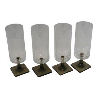 Mid Century Modern Rosenthal Studio Line Smoke Patten Footed Glasses - Set of 4
