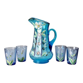 Antique Hand Painted Glass Pitcher Set For Sale