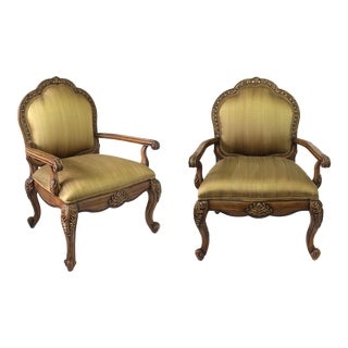 1980s Vintage Italian Silk Upholstered Chairs- A Pair For Sale